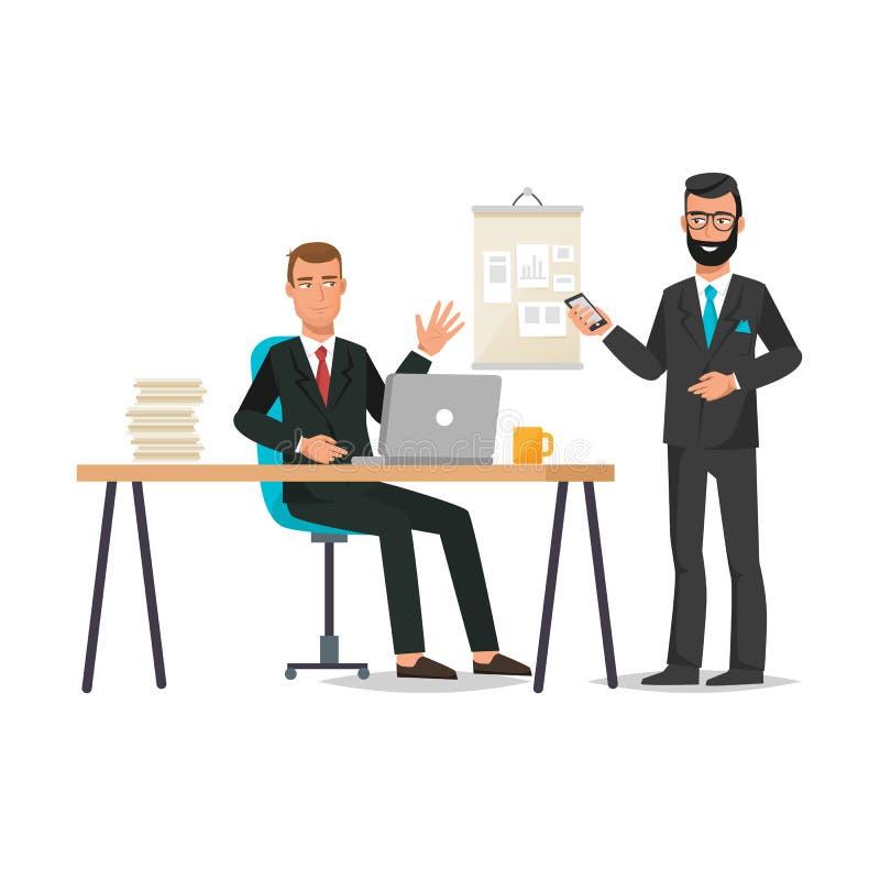 Trabalhador de escritório, falando com a placa de trabalho do colega, trabalhando junto, trabalhos de equipa ilustração royalty free