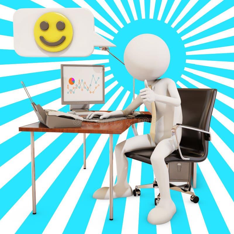 Trabalhador de escritório feliz ilustração do vetor
