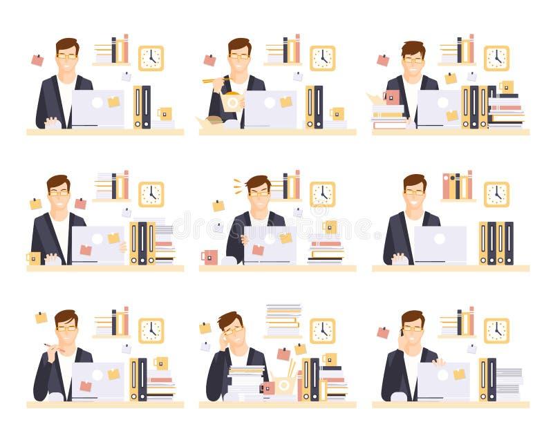 Trabalhador de escritório masculino em seu grupo de funcionamento do compartimento de ilustrações ilustração stock