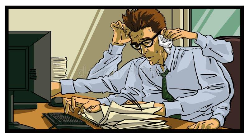 Trabalhador de escritório ocupado mesmo ilustração stock