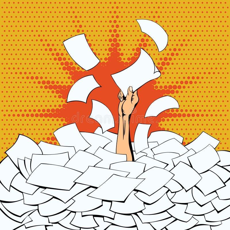 Trabalhador de escritório oprimido com o trabalho ilustração royalty free