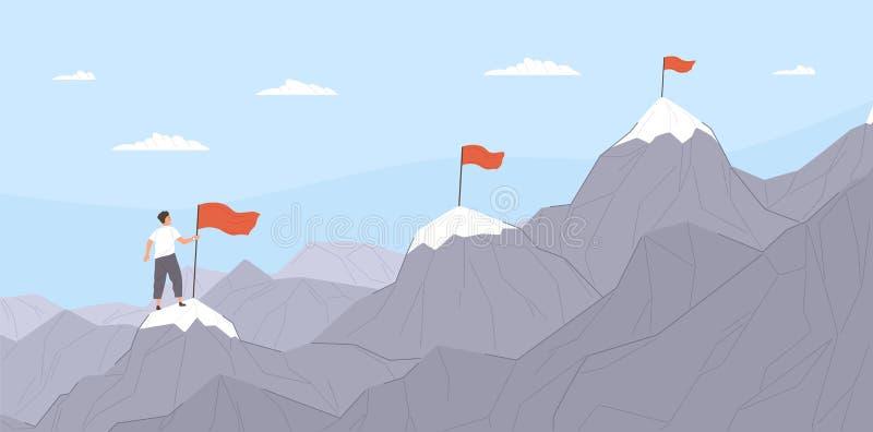 Trabalhador de escritório que escala acima montanhas ou penhascos e que move-se para o ponto de destino final Conceito do negócio ilustração royalty free
