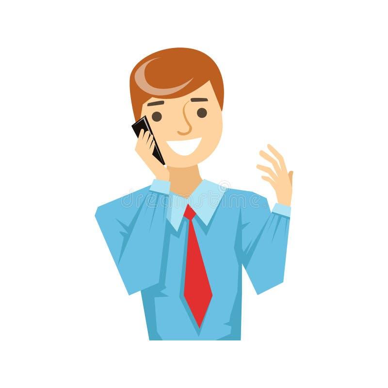 Trabalhador de escritório que fala sobre o trabalho em Smartphone, parte dos povos que falam na série do telefone celular ilustração royalty free