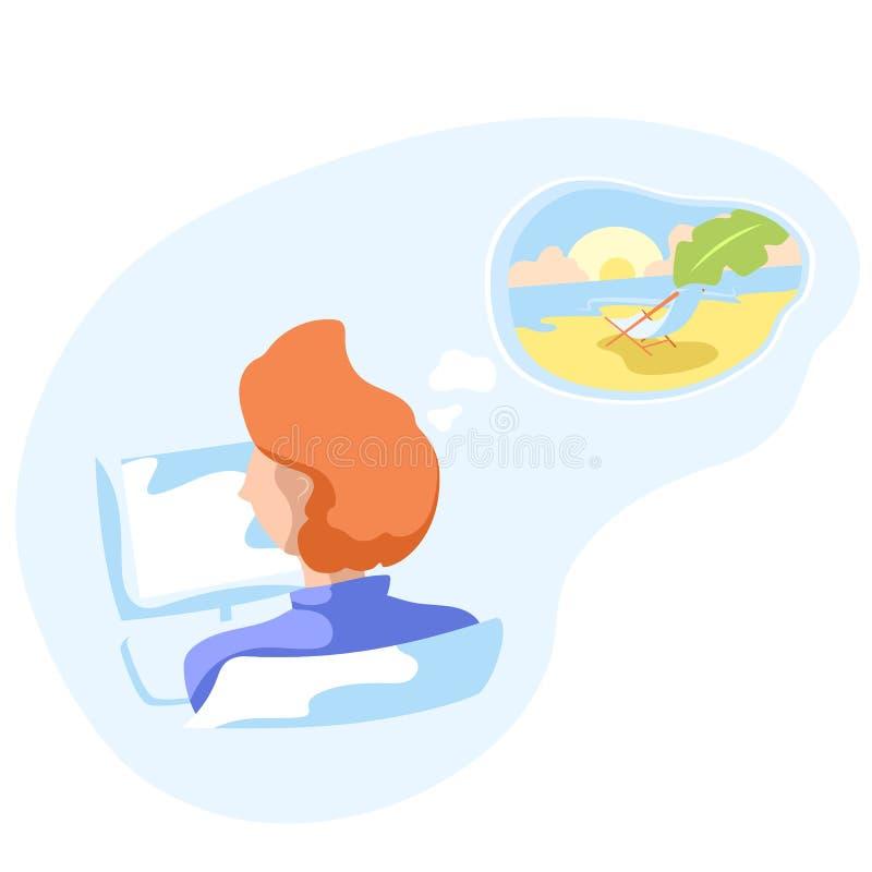 Trabalhador de escritório que sonha em férias tropicais Praia ensolarada com cadeira de plataforma e folha de palmeira nos sonhos ilustração royalty free