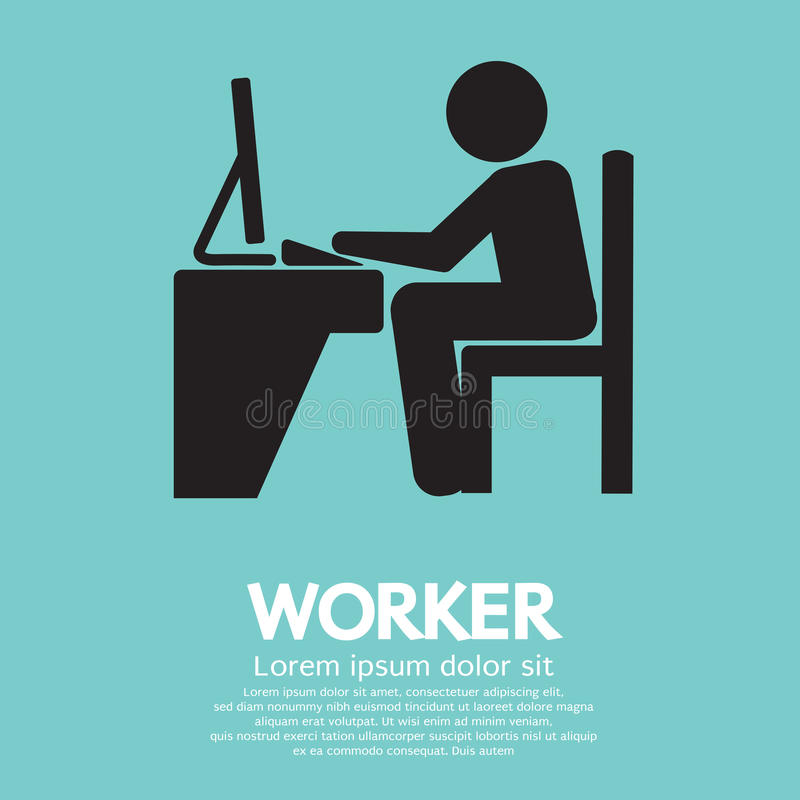 Trabalhador de escritório que usa o computador ilustração do vetor