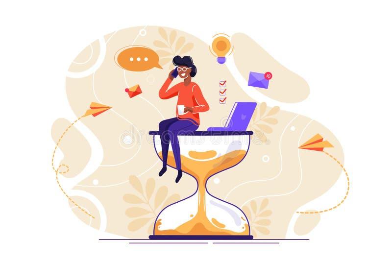 Trabalhador de escrit?rio com muitas m?os ilustração stock