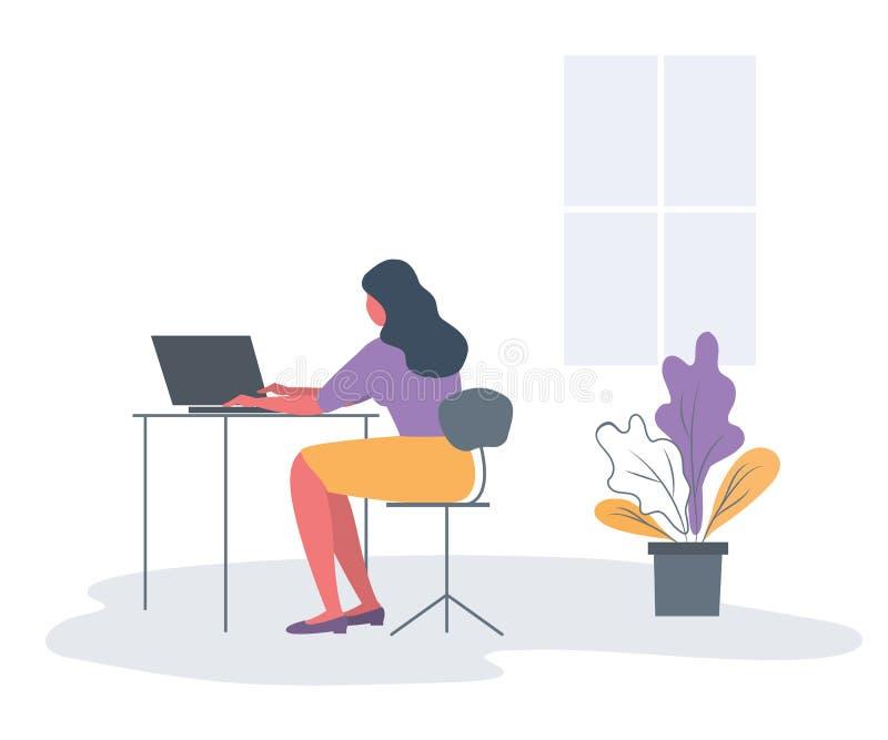 Trabalhador de escrit?rio no local de trabalho Vista traseira ilustração do vetor