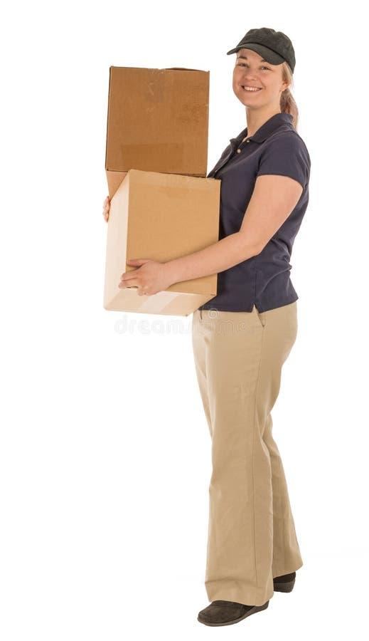 Trabalhador de mulher que entrega caixas fotos de stock royalty free