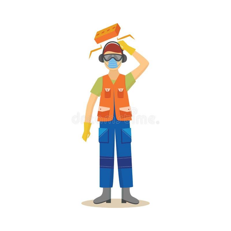 Trabalhador de produção com risco de ferimento na ilustração do vetor do trabalho isolada no branco ilustração stock