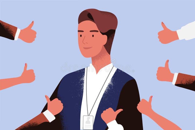 Trabalhador de sorriso do homem de negócios ou de escritório cercado pelas mãos que demonstram os polegares acima Conceito do pro ilustração stock