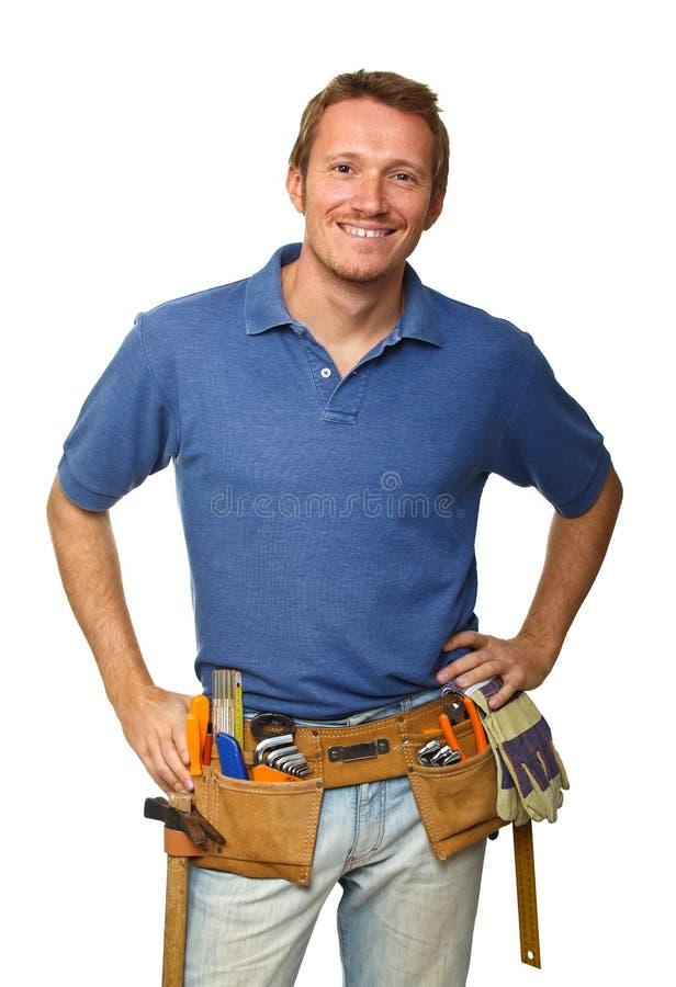 Download Trabalhador De Sorriso No Branco Foto de Stock - Imagem de ferramenta, indústria: 16872694