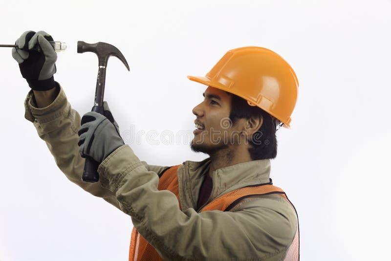 Trabalhador do chapéu duro foto de stock