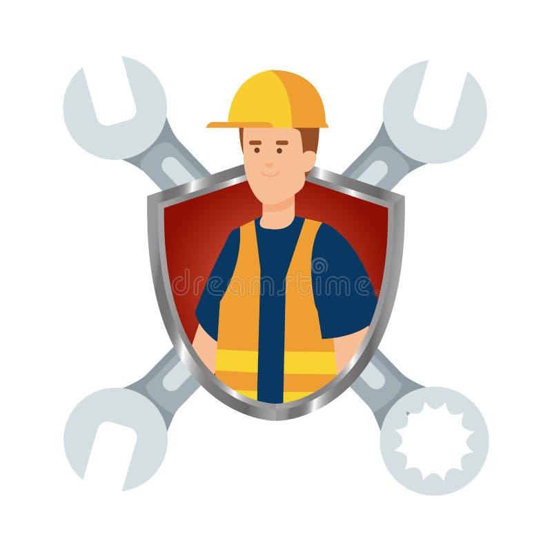 Trabalhador do construtor com capacete e chaves no protetor ilustração royalty free