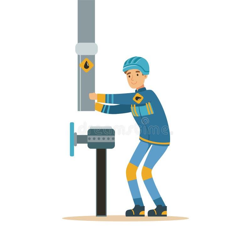 Trabalhador do construtor que fixa e que junta-se ao oleoduto, à extração da indústria petroleira e ao vetor industriais da produ ilustração royalty free