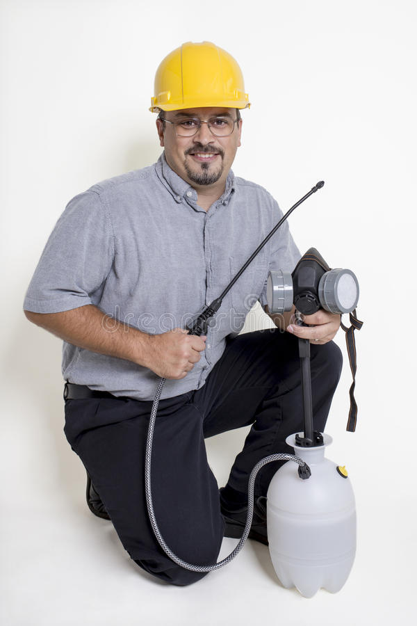 Trabalhador do controlo de pragas fotografia de stock