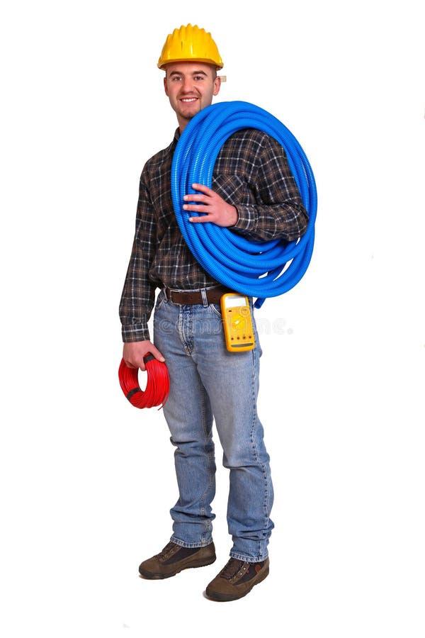 Trabalhador do eletricista. fotografia de stock