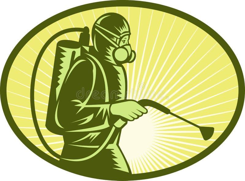 Trabalhador do exterminator do controle de praga ilustração royalty free