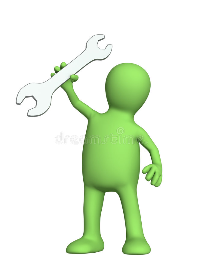 Trabalhador do fantoche com uma chave à disposicão ilustração stock