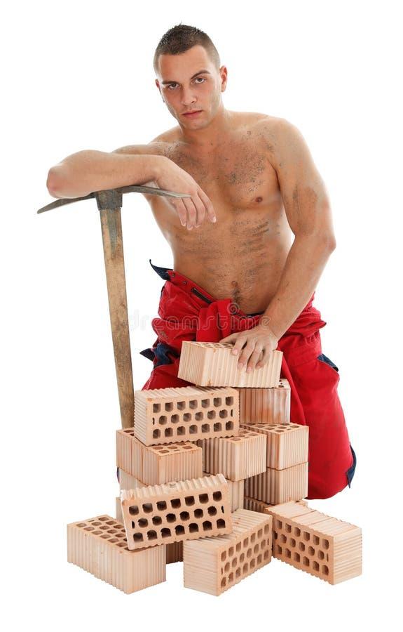 Trabalhador do homem com picareta fotos de stock