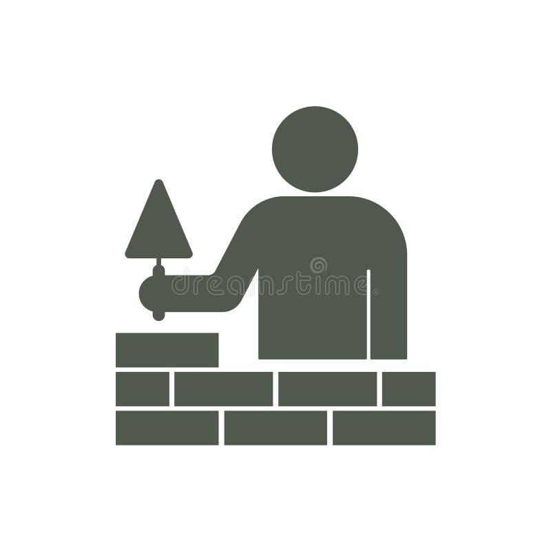 Trabalhador do pedreiro do tiler da camada de tijolo com pá de pedreiro ilustração stock