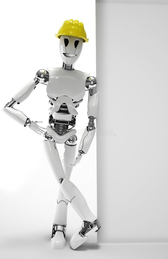 Trabalhador do robô que sorri com capacete ilustração royalty free