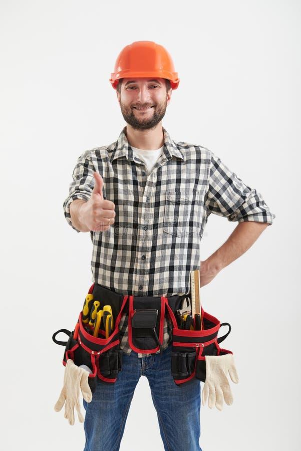 Trabalhador do smiley com ferramentas fotografia de stock