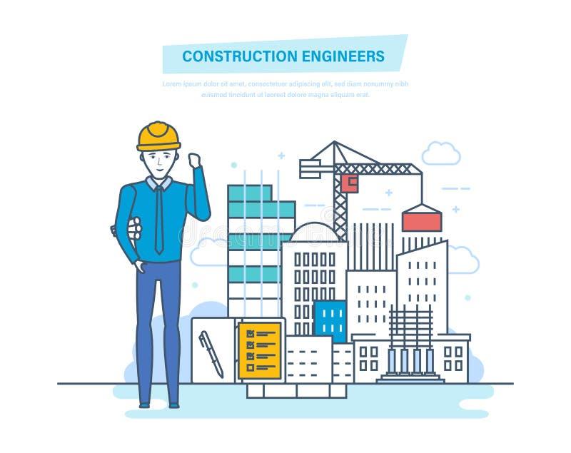 Trabalhador dos coordenadores de construção Controle para a construção do processo da casa ilustração stock