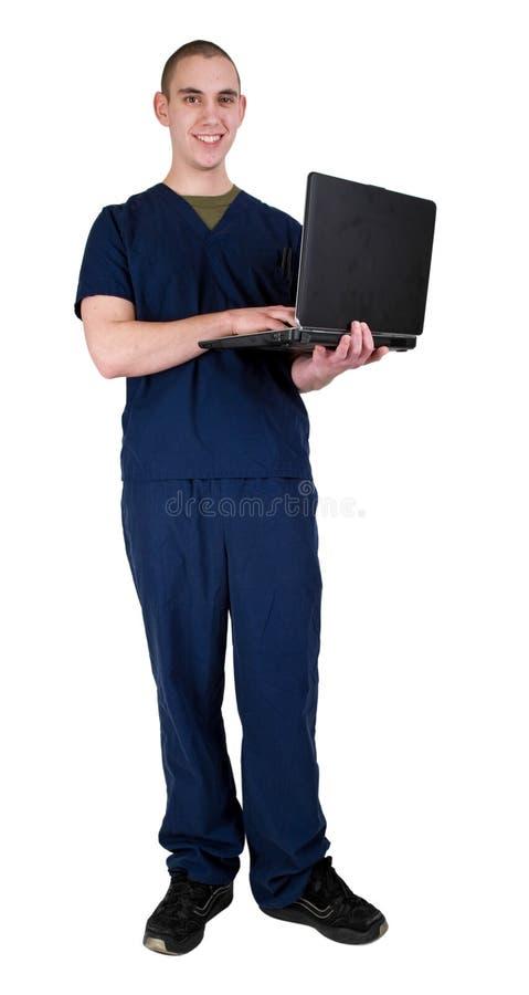 Trabalhador dos cuidados médicos com computador portátil imagens de stock royalty free