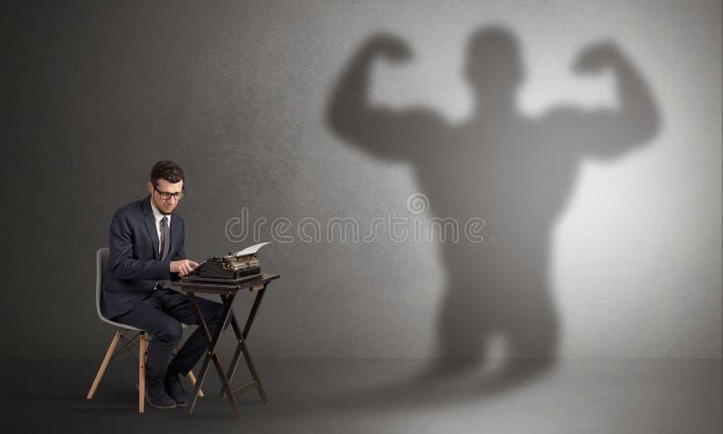 Trabalhador duro receoso do monstro assustador imagem de stock