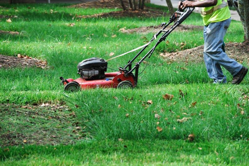 Trabalhador exterior que sega o gramado fotografia de stock