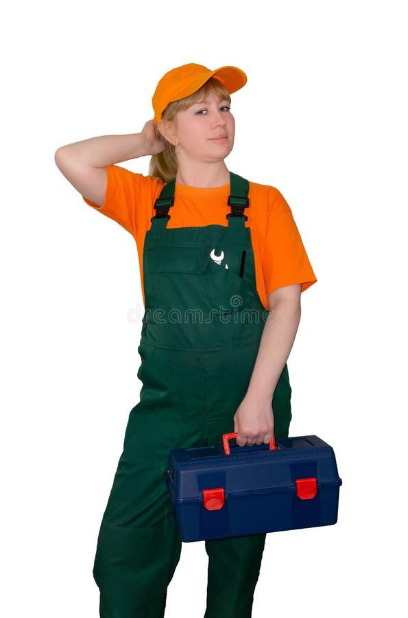 Trabalhador fêmea com a caixa de ferramentas isolada no fundo branco fotos de stock
