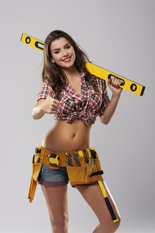 Trabalhador fêmea de sorriso fotos de stock