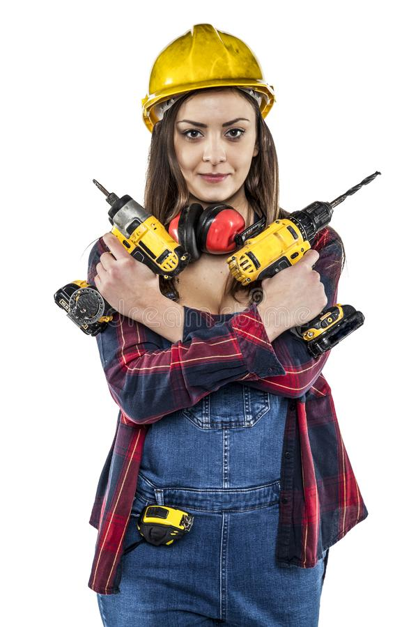 Trabalhador fêmea pronto para trabalhar fotografia de stock