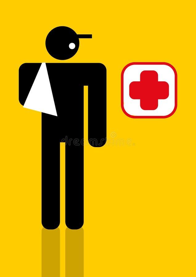 Trabalhador ferido ilustração stock