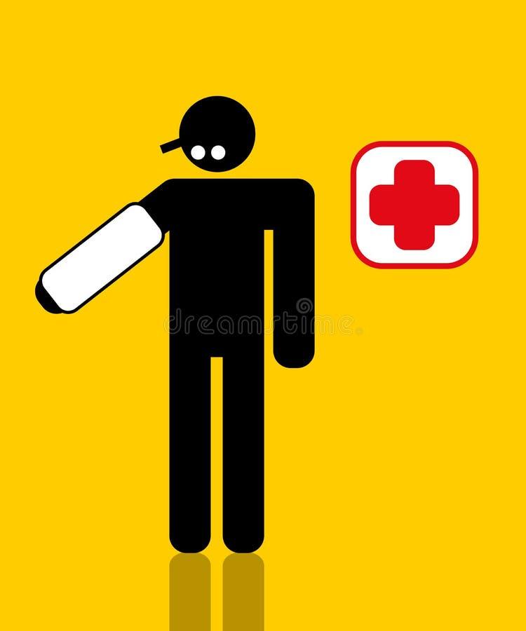 Trabalhador ferido com braço quebrado ilustração stock