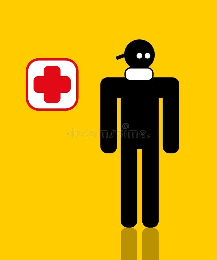 Trabalhador ferido com garganta torcida ilustração do vetor