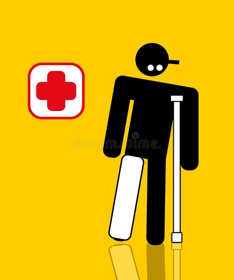 Trabalhador ferido com pé quebrado ilustração stock