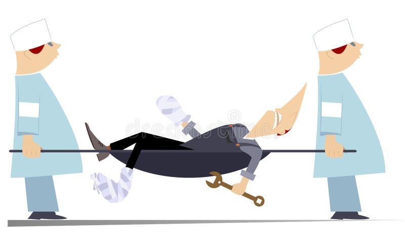 Trabalhador ferido e dois médicos com ilustração da maca ilustração stock