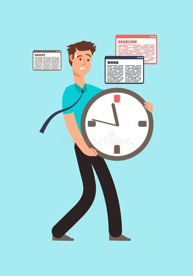 Trabalhador forçado que guarda o pulso de disparo com corrida para fora do tempo Conceito do vetor do fim do prazo ilustração do vetor