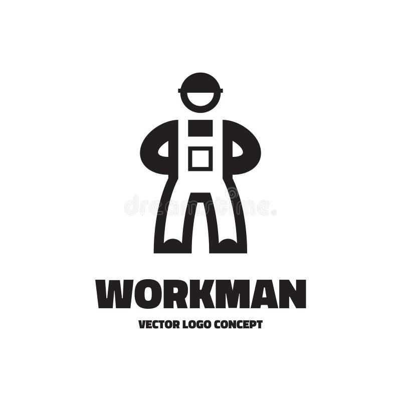 Trabalhador - ilustração do molde do logotipo do vetor Conceito do sinal do trabalhador caráter humano Elemento do projeto ilustração stock