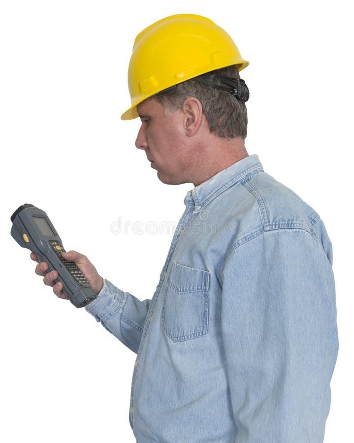 Trabalhador industrial da fabricação com o varredor à mão isolado imagens de stock