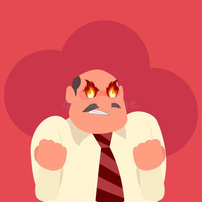 Trabalhador irritado com fogo em seus olhos ilustração stock