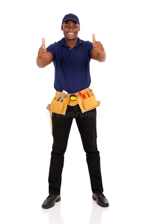 Trabalhador manual afro-americano novo fotografia de stock
