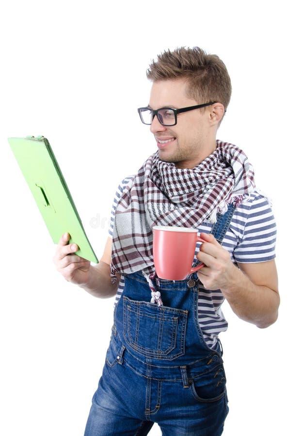 Trabalhador manual atrativo com a tabuleta Alegria e felicidade fotos de stock royalty free