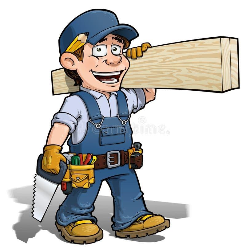 Trabalhador manual - azul do carpinteiro ilustração do vetor