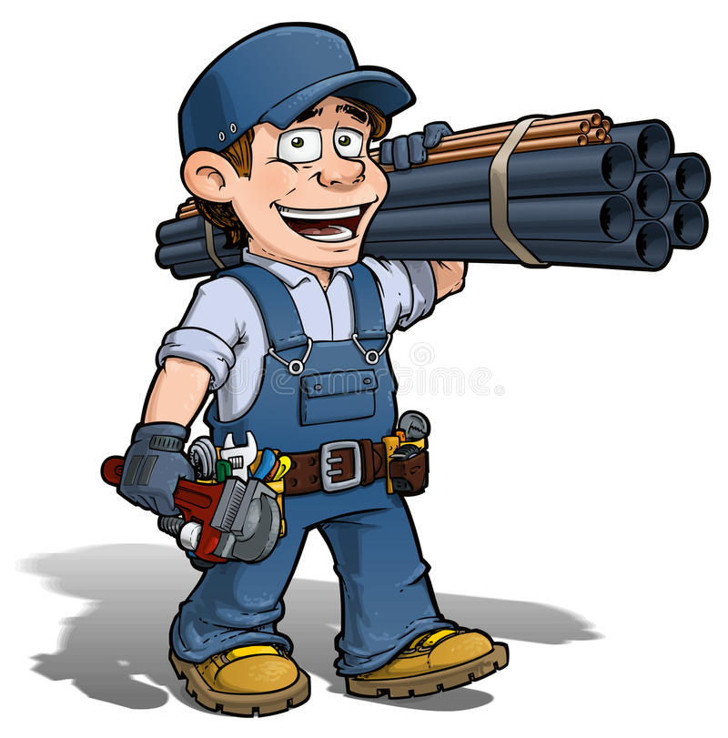 Trabalhador manual - canalizador Blue ilustração royalty free