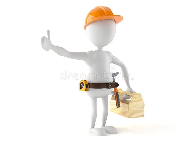 Trabalhador manual com caixa de ferramentas ilustração stock