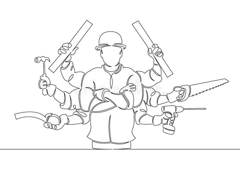 Trabalhador manual com ferramentas ilustração stock