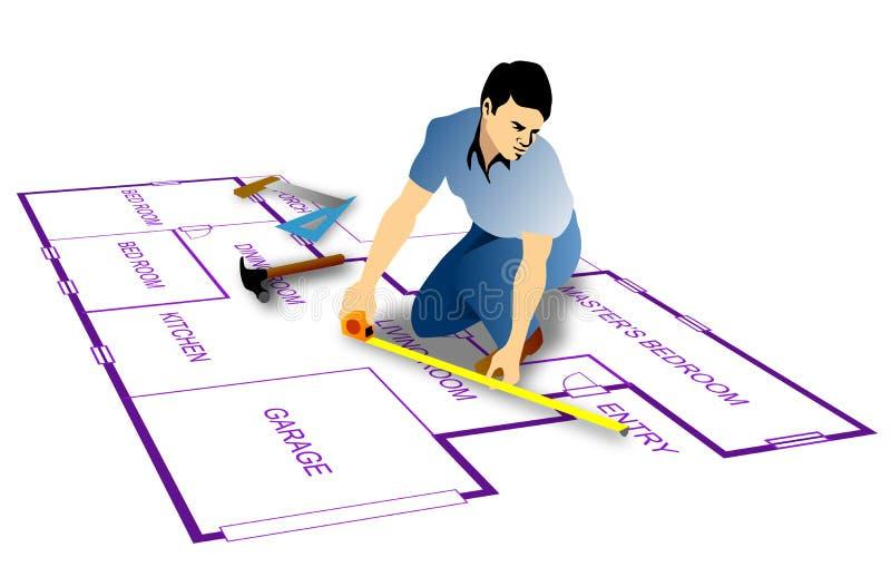 Trabalhador manual com fita de medição ilustração do vetor