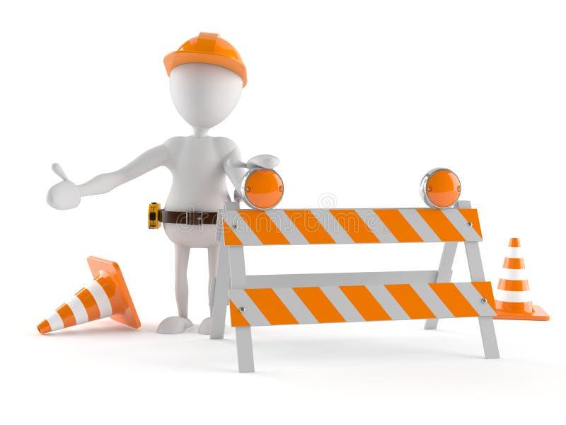 Trabalhador manual com limite ilustração stock